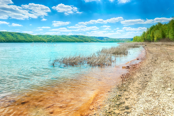 Dniester river in Bakota - Stock Photo - Images