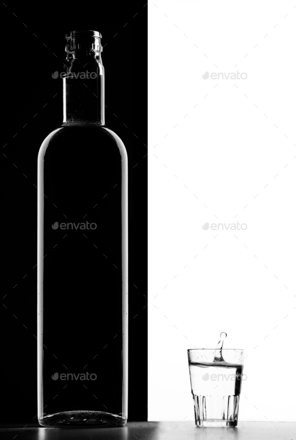 Transparent bottle and Glass - Stock Photo - Images