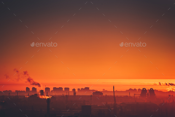 Aerial view of city sunset - Stock Photo - Images