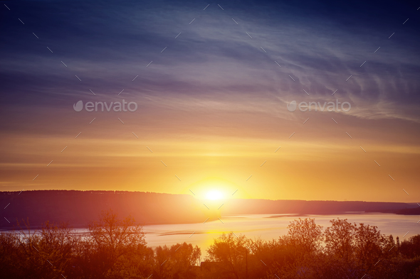 river banks in sunset - Stock Photo - Images