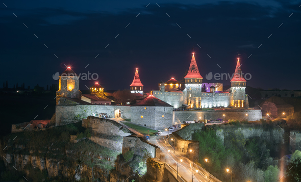Kamianets Podilskyi in night - Stock Photo - Images