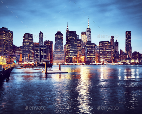 Manhattan skyline at dusk, New York. - Stock Photo - Images