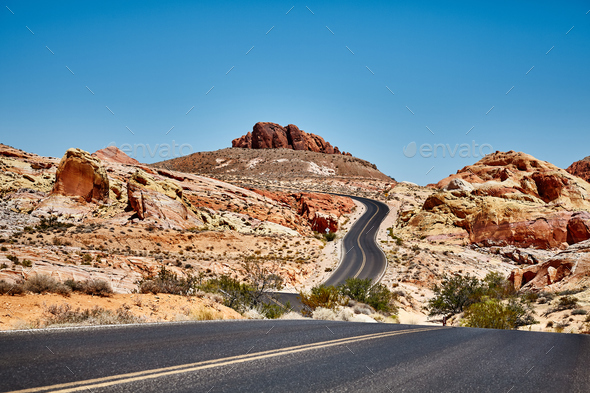 Picture of a scenic desert road, travel concept. - Stock Photo - Images