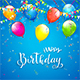 Blue Birthday Background with Pennants and Balloons
