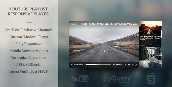 Modern HTML5 Responsive Youtube Playlist Player - CodeCanyon Item for Sale