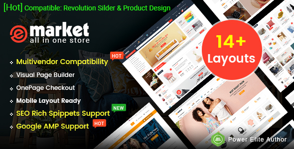 eMarket - Multi-purpose MarketPlace OpenCart 3 Theme (14 Homepages & Mobile Layouts Included)