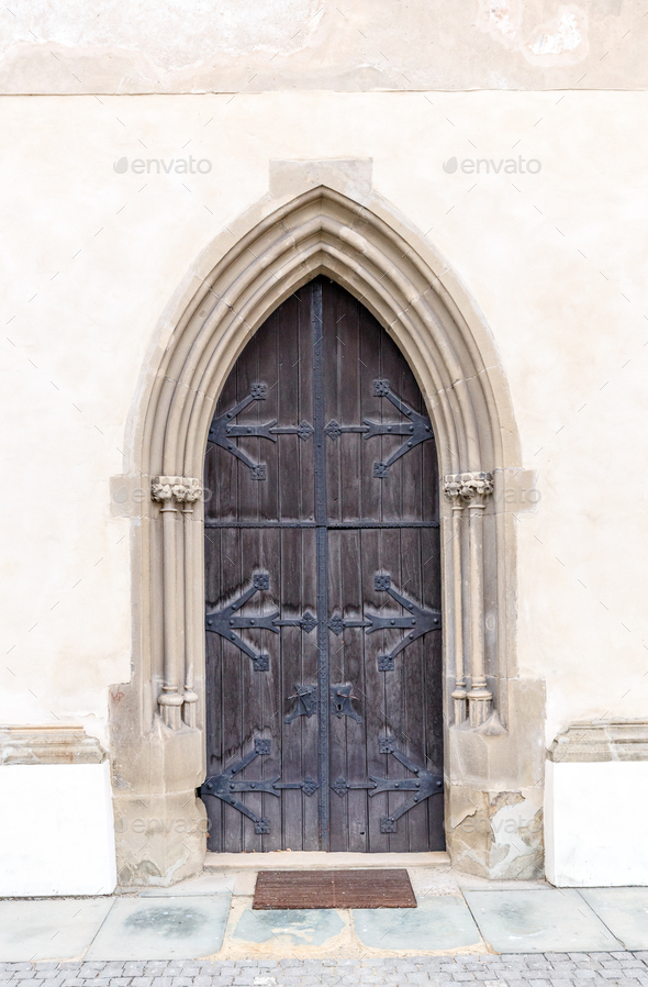 Old church or castle door - Stock Photo - Images