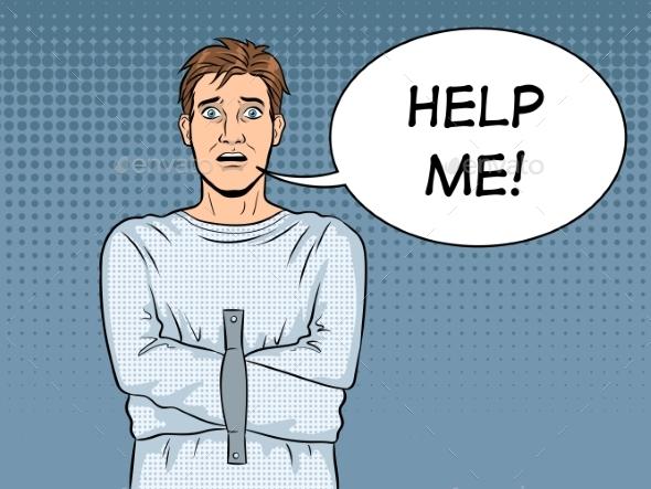 Man in Straitjacket Pop Art Vector Illustration - People Characters