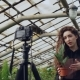 Popular Female Blogger Experienced Gardener Is Recording Video About Gardening for Her Vlog Standing - VideoHive Item for Sale