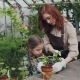Pretty Female Gardener in Apron and Her Cute Child Are Stirring Soil in Pot Growing Plant - VideoHive Item for Sale