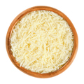 Grated Parmesan cheese in wooden bowl over white - PhotoDune Item for Sale