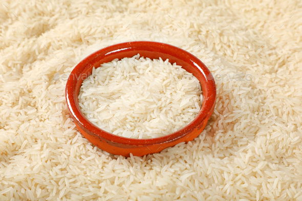 white long grained rice - Stock Photo - Images