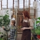 Young Entrepreneur Hothouse Owner and Her Little Daughter in Aprons Walking in Greenhouse Holding - VideoHive Item for Sale