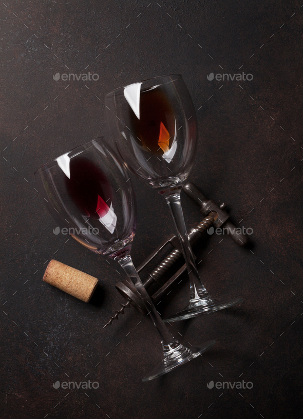 Wine glasses and vintage corkscrew - Stock Photo - Images