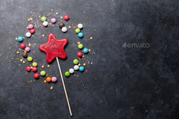 Colorful sweets. Lollipop and candies - Stock Photo - Images