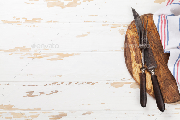 Cooking utensils on wooden table - Stock Photo - Images