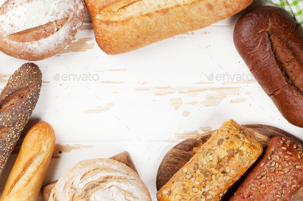 Various crusty bread and buns - Stock Photo - Images