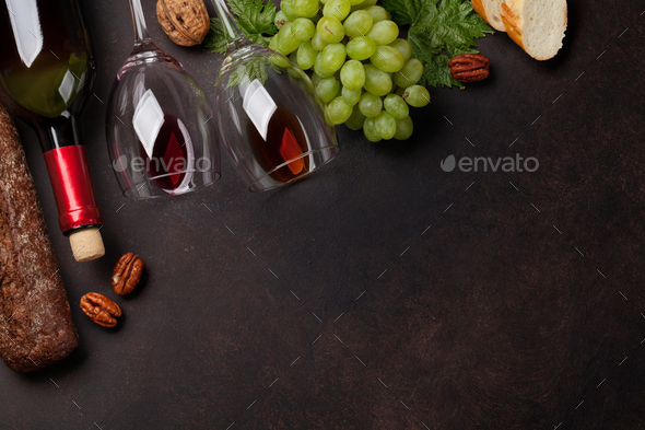 Wine, grape and bread - Stock Photo - Images