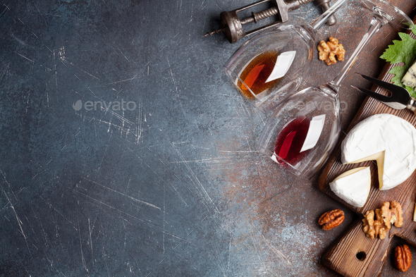 Wine, nuts and cheese - Stock Photo - Images