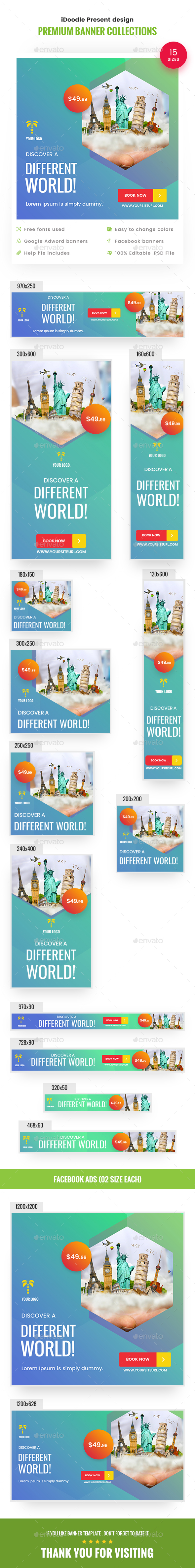 Travel Banners Ads - Banners & Ads Web Elements