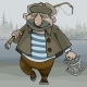 Cartoon Man Fisherman Walking with a Fishing Rod