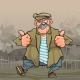 Cartoon Mustachioed Rustic Man Dancing - GraphicRiver Item for Sale