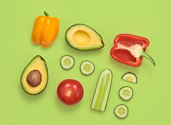Vegetables Vegan Creative Set.Food Cooking Concept - Stock Photo - Images