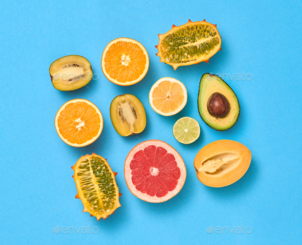 Tropical Fruits Vegan Set. Organic Food Concept - Stock Photo - Images