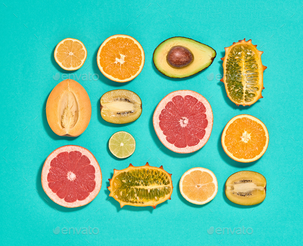 Tropical Fruits Vegan Set. Organic Food Concept - Stock Photo - Images
