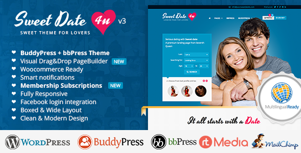 Sweet Date - More than a Wordpress Dating Theme - BuddyPress WordPress