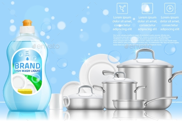 Dishwashing Advertising Vector Realistic Template - Backgrounds Decorative