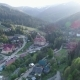 Flight Over the Village in the Ukrainian Carpathians Mountains. Grand Hotel Pylypets  - VideoHive Item for Sale