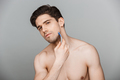 Beauty portrait of half naked charming young man - PhotoDune Item for Sale