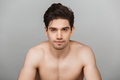Beauty portrait of half naked concentrated young man - PhotoDune Item for Sale