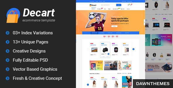 Decart - eCommerce PSD Template - Retail PSD Templates