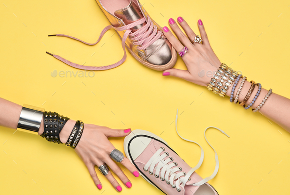 Fashion.Female hand, Trendy Jewelry.Shopping Sales - Stock Photo - Images