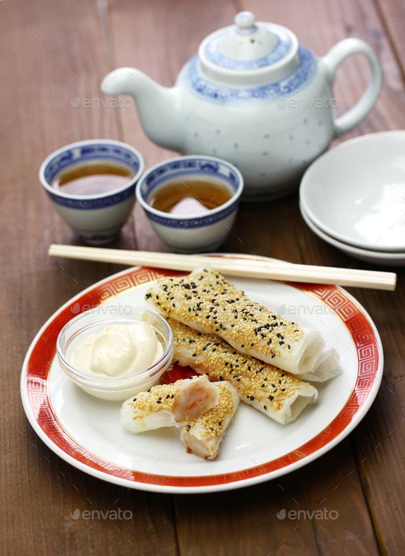 sesame wafer prawn rolls, chinese dim sum - Stock Photo - Images
