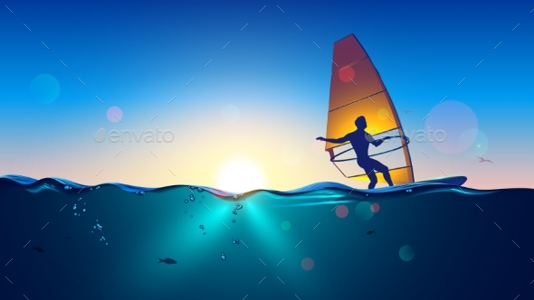 Windsurfing on Sea Landscape and Clear Sky - Sports/Activity Conceptual