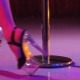 Young Sexy Slim Woman Pole Dancing Striptease with Pylon in Night Club - VideoHive Item for Sale