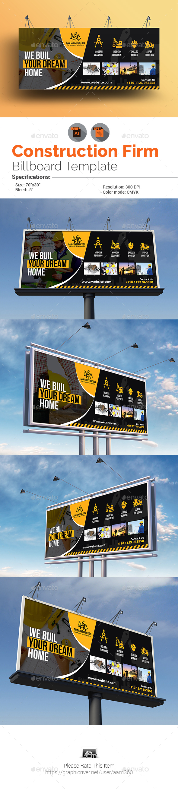 Construction Billboard Template - Signage Print Templates