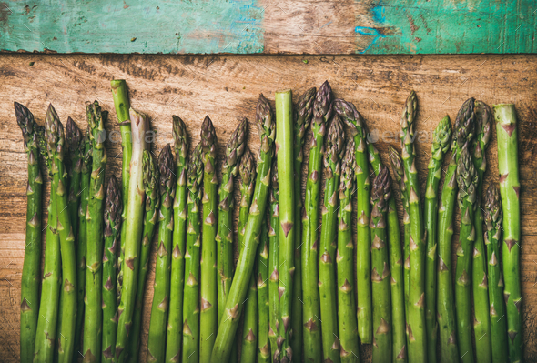 Raw uncooked green asparagus - Stock Photo - Images