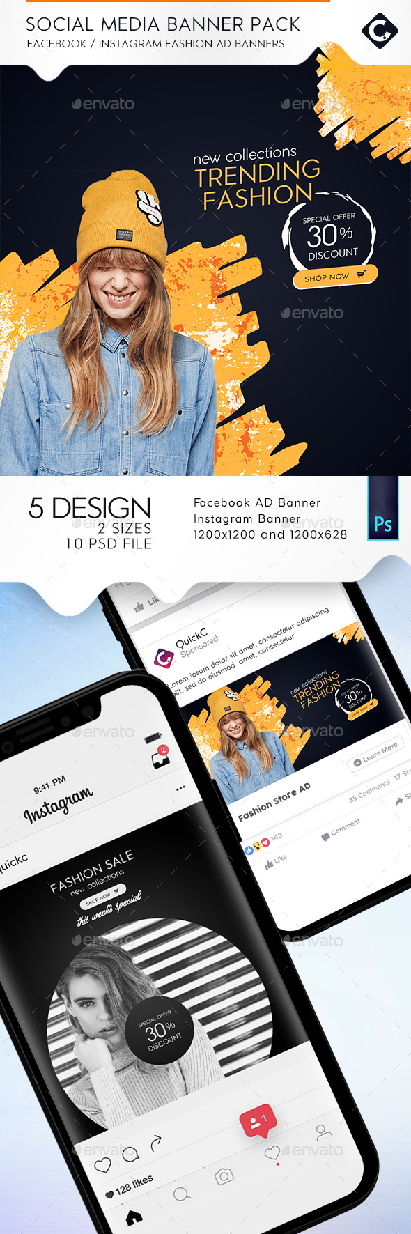 Social Media Fashion Banner Pack - Banners & Ads Web Elements