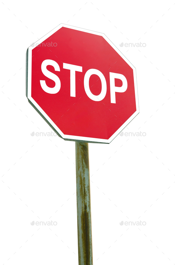Stop sign on white background - Stock Photo - Images