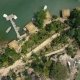 Aerial Shoot Boat Pier and Bungalow for Rest on Lake. - VideoHive Item for Sale