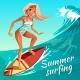 Summer Surfing Girl on Wave Vector Illustration - GraphicRiver Item for Sale