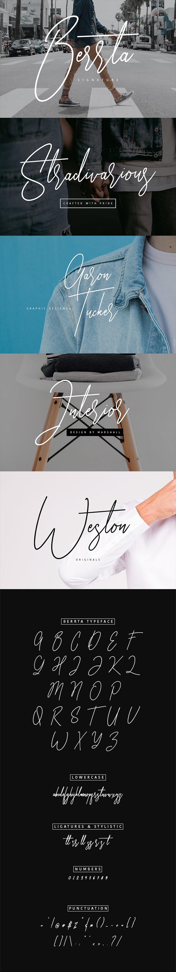Berrta Signature Typeface - Calligraphy Script