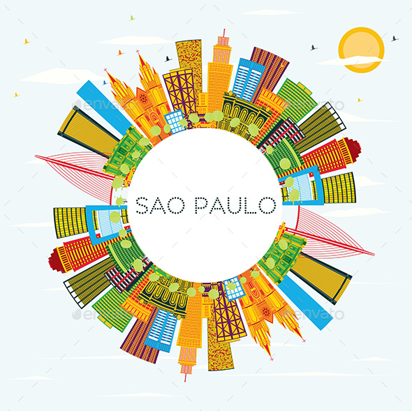 Sao Paulo Brazil City Skyline with Color Buildings - Buildings Objects