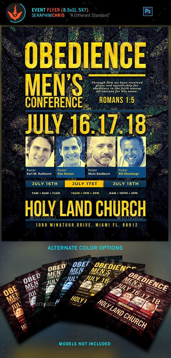 Obedience Men's Conference Church Flyer Template - Church Flyers