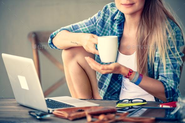 Student girl doing homework - Stock Photo - Images
