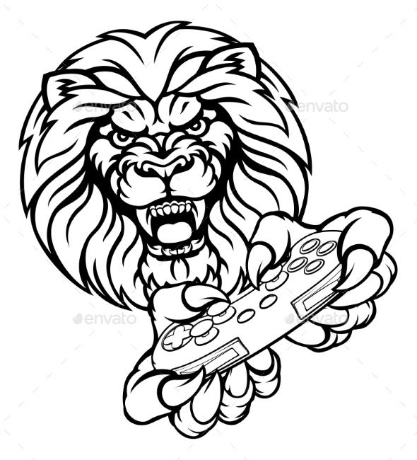 Lion Gamer Mascot - Sports/Activity Conceptual